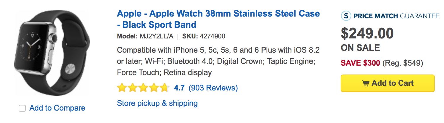 Get up to $300 Off the Original Apple Watch at Best Buy